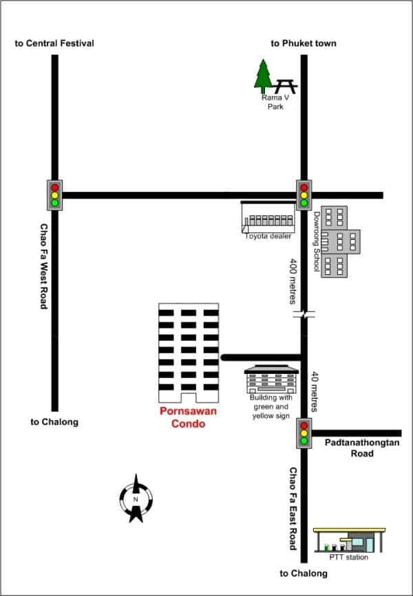 Map for Phuket Town apartments